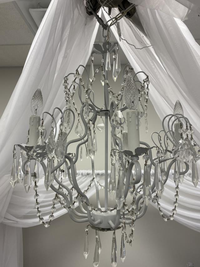 Where to find CANOPY CHANDELIER WHITE IRON W CRYSTALS in Boone