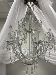 Rental store for CANOPY CHANDELIER WHITE IRON W CRYSTALS in Boone NC