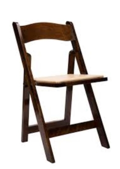 Rental store for CHAIR WOODEN FOLDING DARK FRUITWOOD in Boone NC